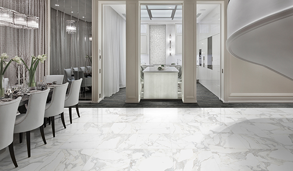 """<span style=""""font-size:12px""""><i><right>Material shown: Calacatta - 12""""x24"""" Tile</right></i></span>"""